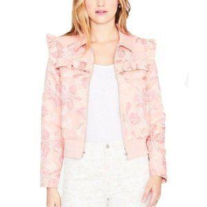 Rachel Roy Printed Ruffle-Trim Bomber Jacket, Pink
